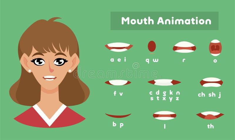 Animação para uma menina, pronunciação fêmea da boca ilustração stock