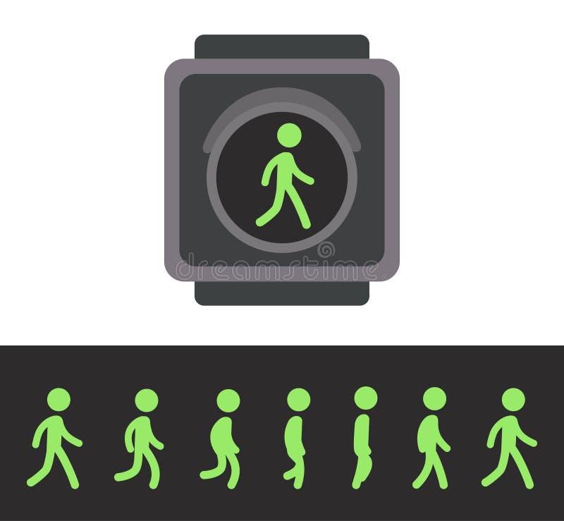 Animação pedestre do sinal ilustração do vetor