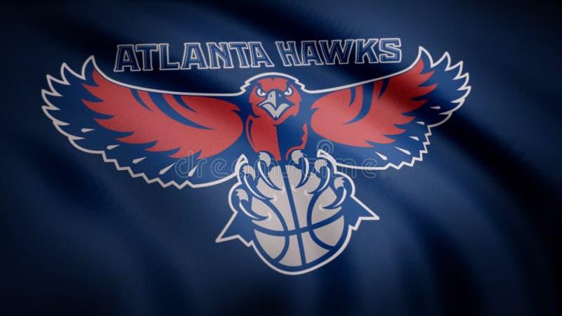 A animação que acena na bandeira do vento do clube Atlanta do basquetebol Hawks Uso editorial somente ilustração do vetor
