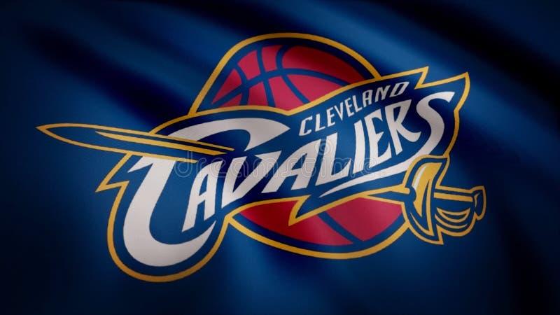 Animação que acena na bandeira do vento do clube Cleveland Cavaliers do basquetebol Uso editorial somente ilustração do vetor