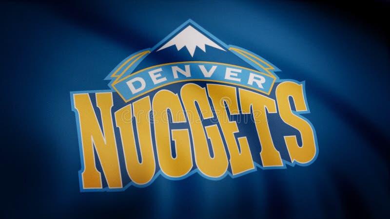 Animação que acena na bandeira do vento do clube Denver Nuggets do basquetebol Uso editorial somente ilustração royalty free