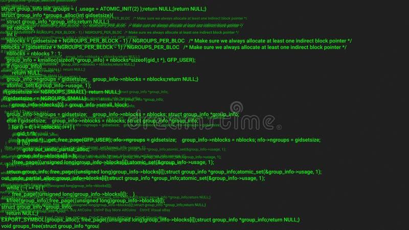 Animação verde do conceito do hacker da codificação da tela com pulso aleatório Erro de datilografia de programação do código ilustração royalty free