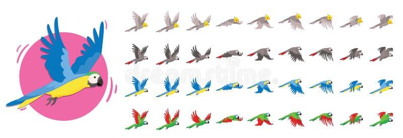Animações que o pássaro está voando Animações do papagaio O grupo de pássaro de Sprite voa ilustração do vetor