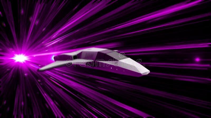 Animación abstracta hermosa de la nave espacial en el vuelo Hyperspace del salto a través del espacio exterior animaci?n animació libre illustration