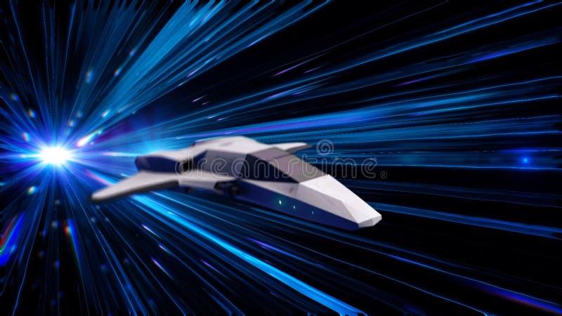 Animación abstracta hermosa de la nave espacial en el vuelo Hyperspace del salto a través del espacio exterior animaci?n animació stock de ilustración