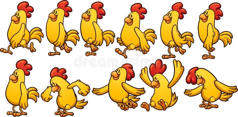 Animación amarilla del pollo stock de ilustración