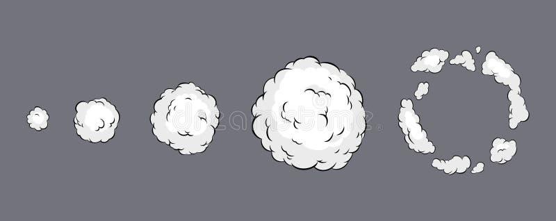 Animación de la explosión del humo Animación del humo Animación de la explosión Hoja de Sprite para el juego, la historieta o la  stock de ilustración