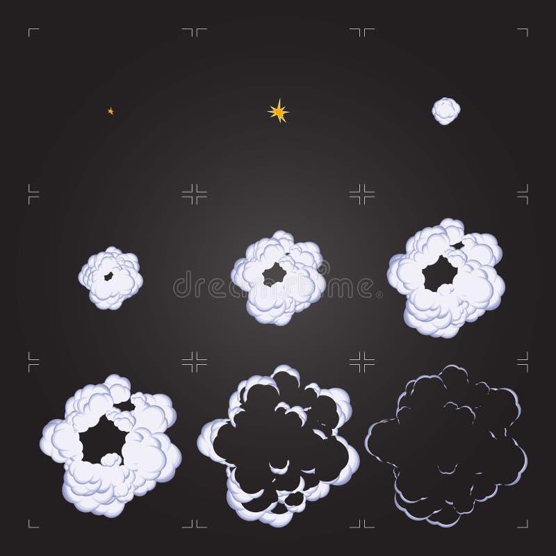Animación de la hoja del sprite de la explosión de la historieta Elemento del diseño para el juego o la animación ilustración del vector