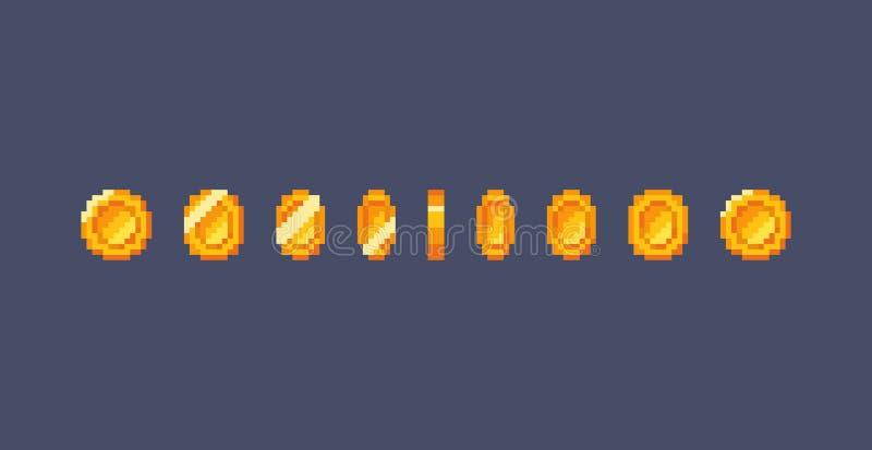 Animación de la moneda de oro del pixel stock de ilustración