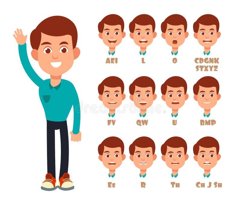 Animación de la sincronización de labios que habla Boca del vector de la historieta y retrato de discurso del muchacho aislado ilustración del vector