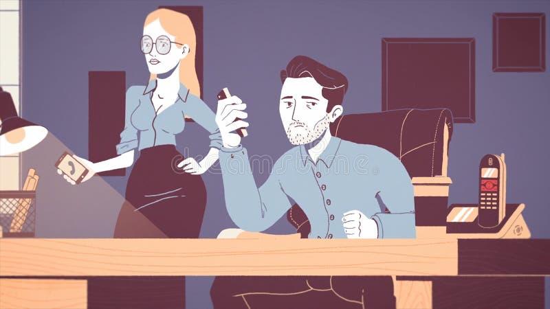 Animación de un hombre de negocios cansado y subrayado que trabaja en un lugar de trabajo en oficina Historieta animada de un jov libre illustration