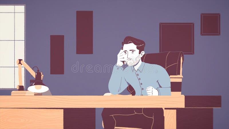 Animación de un hombre de negocios cansado y subrayado que trabaja en un lugar de trabajo en oficina Historieta animada de un jov ilustración del vector