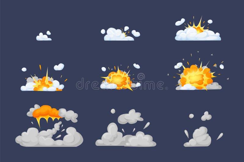 Animación del capítulo con el efecto de la quema, explosión, dividida en marcos ilustración del vector