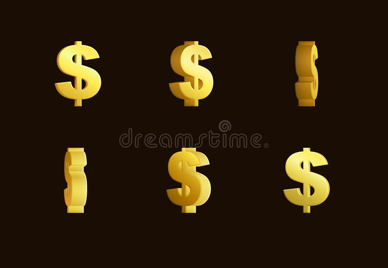 Animación del efecto de la hoja de Sprite de una muestra de dólar de oro de giro stock de ilustración