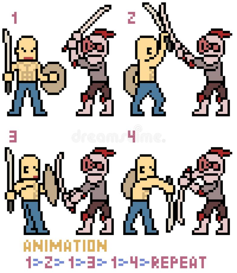 Animación del marco de la lucha de la espada del arte del pixel del vector stock de ilustración