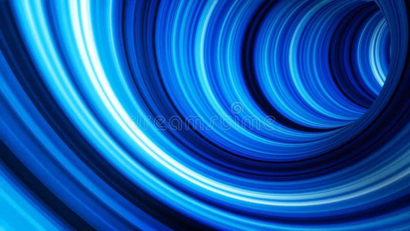 Animación del túnel Fondo abstracto del movimiento azul de las bandas ligeras en la animación tridimensional del túnel futurista stock de ilustración
