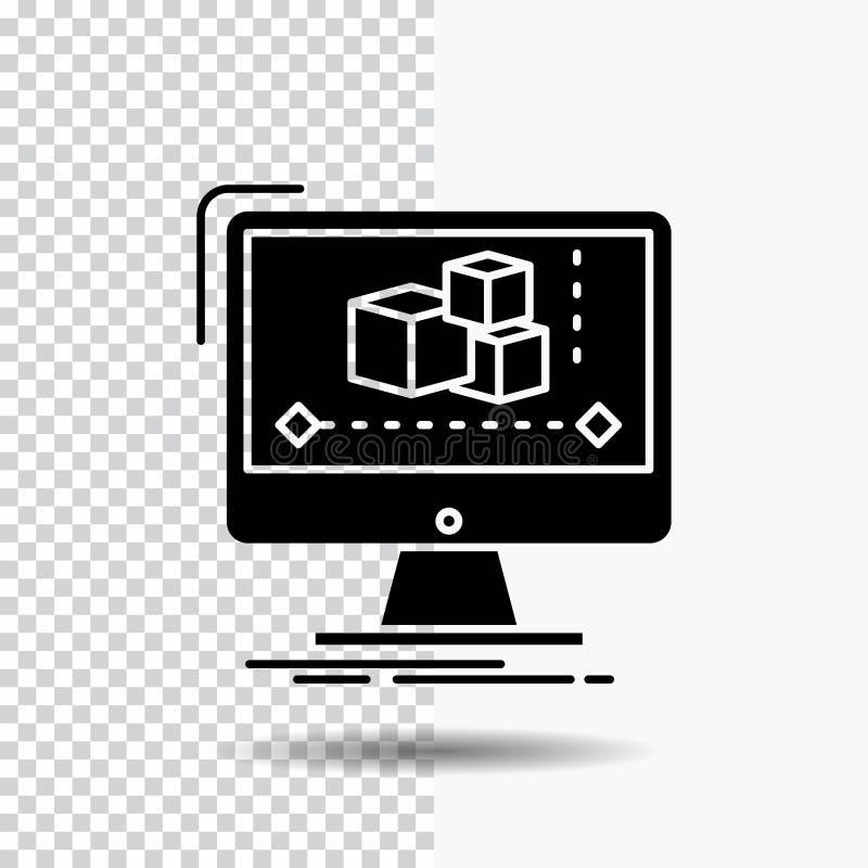 Animación, ordenador, redactor, monitor, icono del Glyph del software en fondo transparente Icono negro ilustración del vector