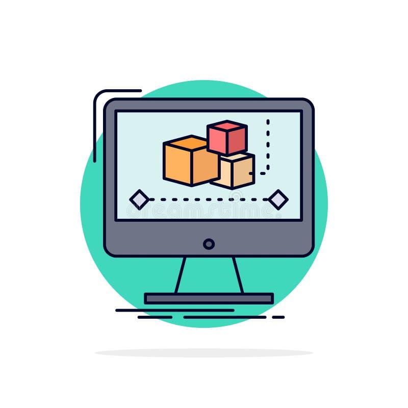 Animación, ordenador, redactor, monitor, vector plano del icono del color del software libre illustration