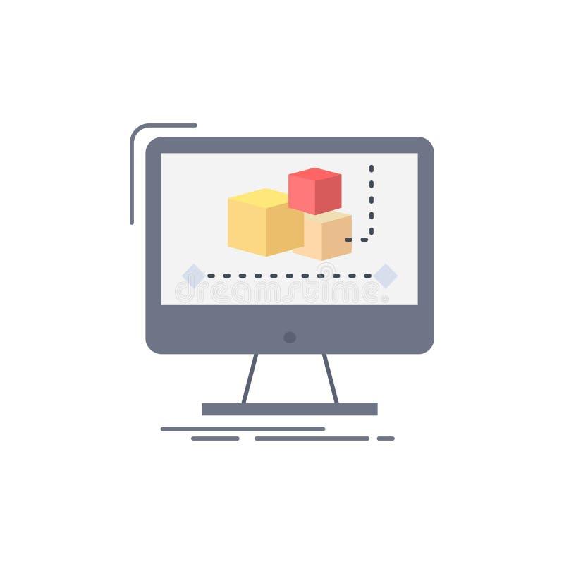Animación, ordenador, redactor, monitor, vector plano del icono del color del software stock de ilustración