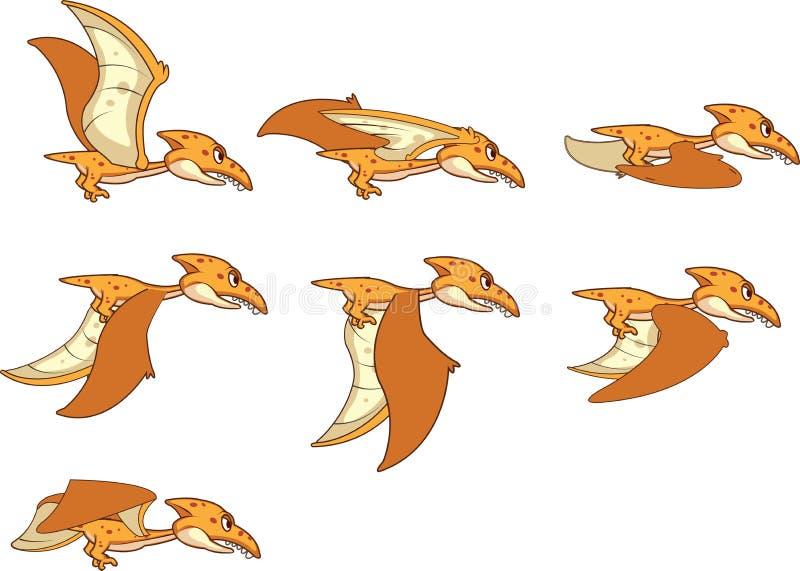 Animación Sprite del pterodáctilo del pájaro del dinosaurio del vuelo ilustración del vector