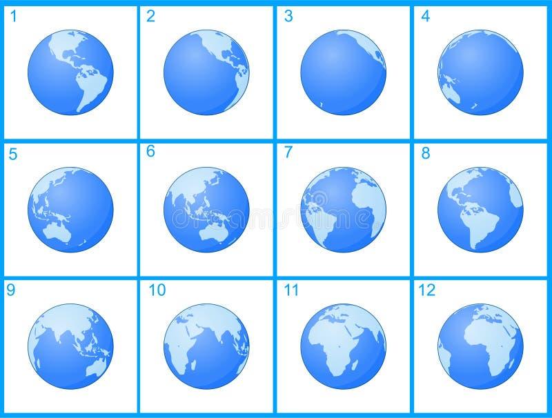 Animaci kuli ziemskiej wirować ilustracja wektor