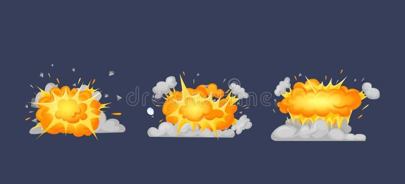 Animaci?n del cap?tulo con el efecto de la quema, explosi?n, dividida en marcos libre illustration