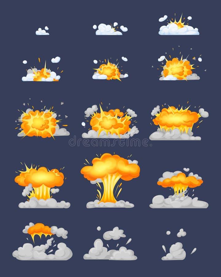 Animaci?n del cap?tulo con el efecto de la quema, explosi?n, dividida en marcos stock de ilustración