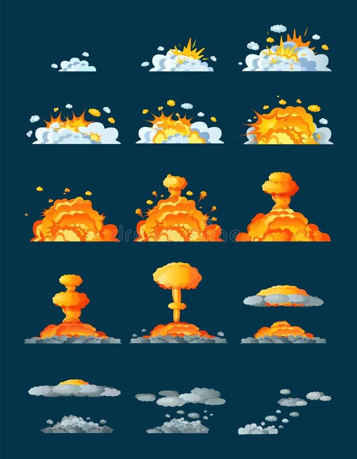 Animaci?n del cap?tulo con el efecto de la quema, explosi?n, dividida en marcos ilustración del vector
