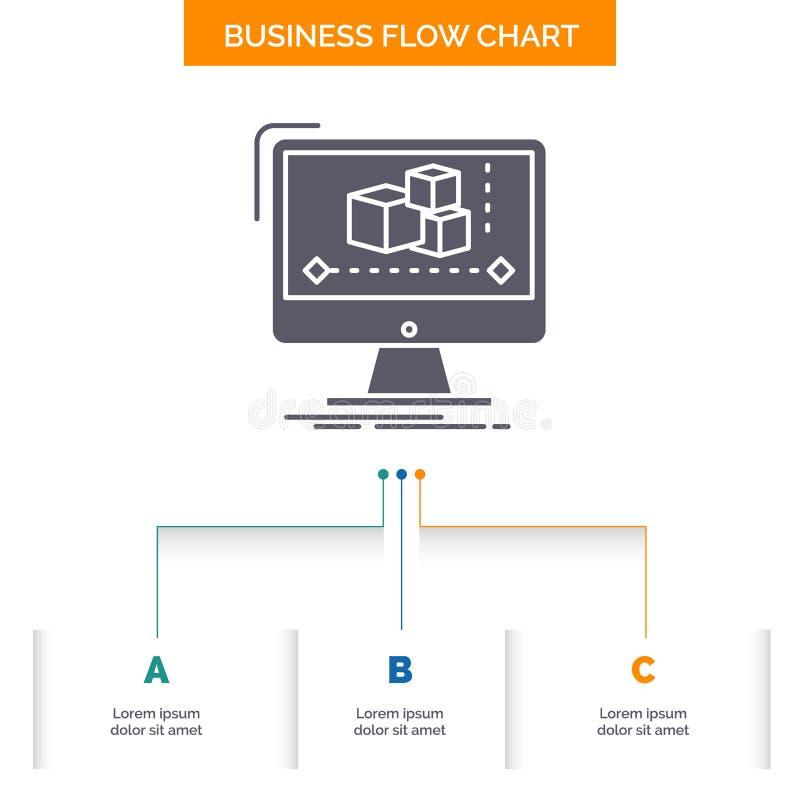 Animaci?n, ordenador, redactor, monitor, dise?o del organigrama del negocio del software con 3 pasos Icono del Glyph para el fond ilustración del vector