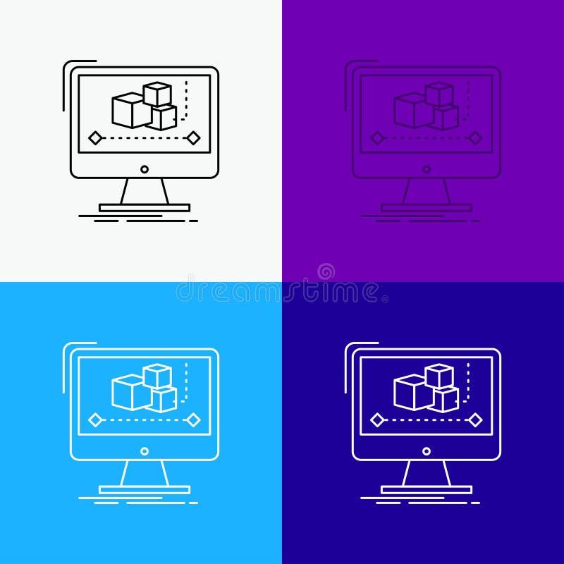 Animaci?n, ordenador, redactor, monitor, icono del software sobre diverso fondo L?nea dise?o del estilo, dise?ado para la web y e ilustración del vector