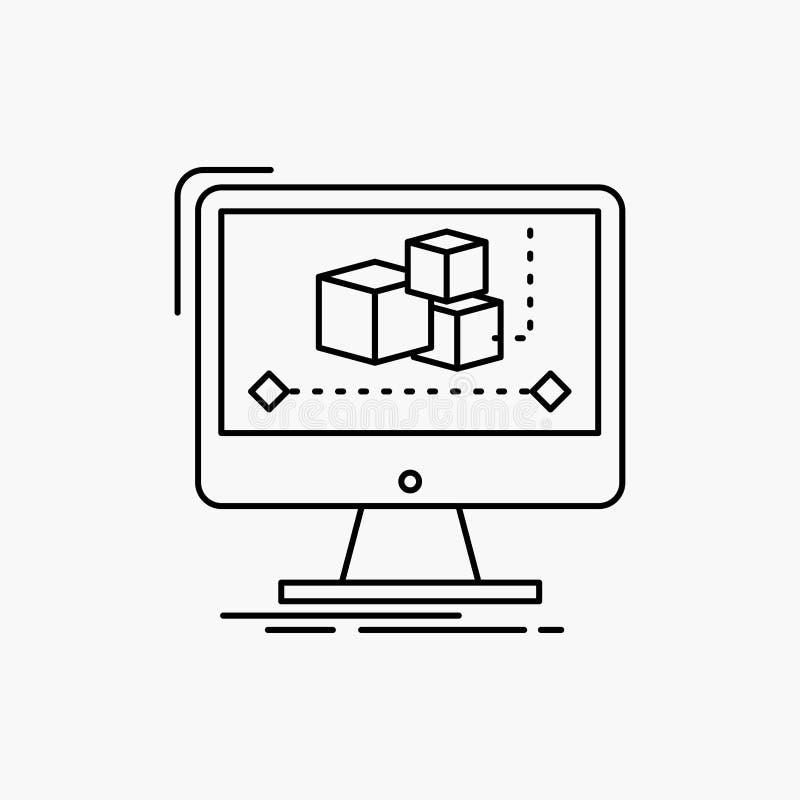 Animaci?n, ordenador, redactor, monitor, l?nea icono del software Ejemplo aislado vector stock de ilustración