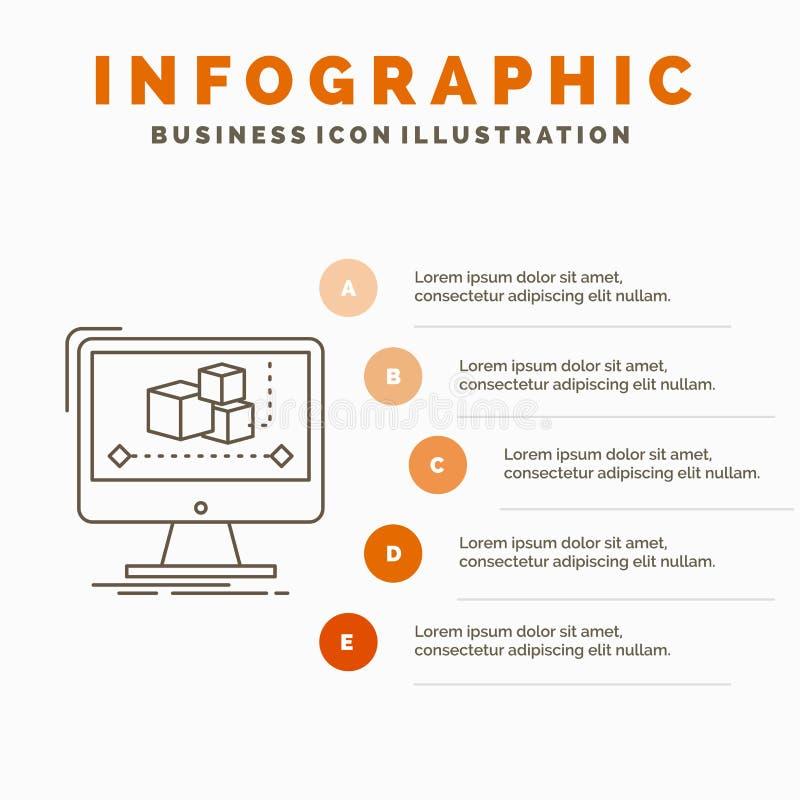 Animaci?n, ordenador, redactor, monitor, plantilla de Infographics del software para la p?gina web y presentaci?n L?nea icono gri ilustración del vector