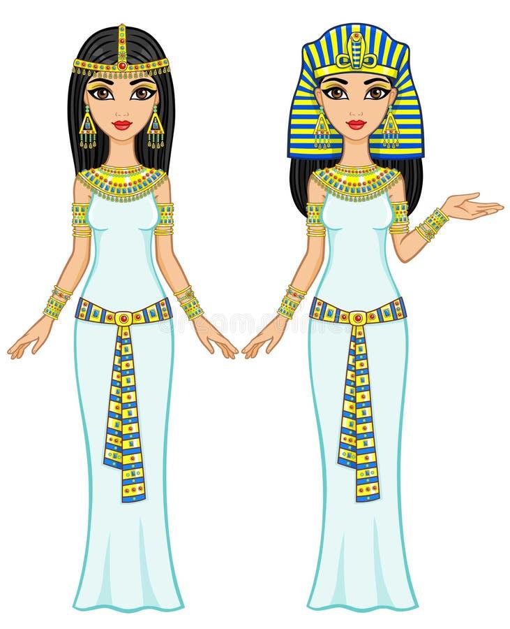 Animacj Egipscy princesses w różnych pozach pełny przyrost Wektorowa ilustracja odizolowywająca na białym tle