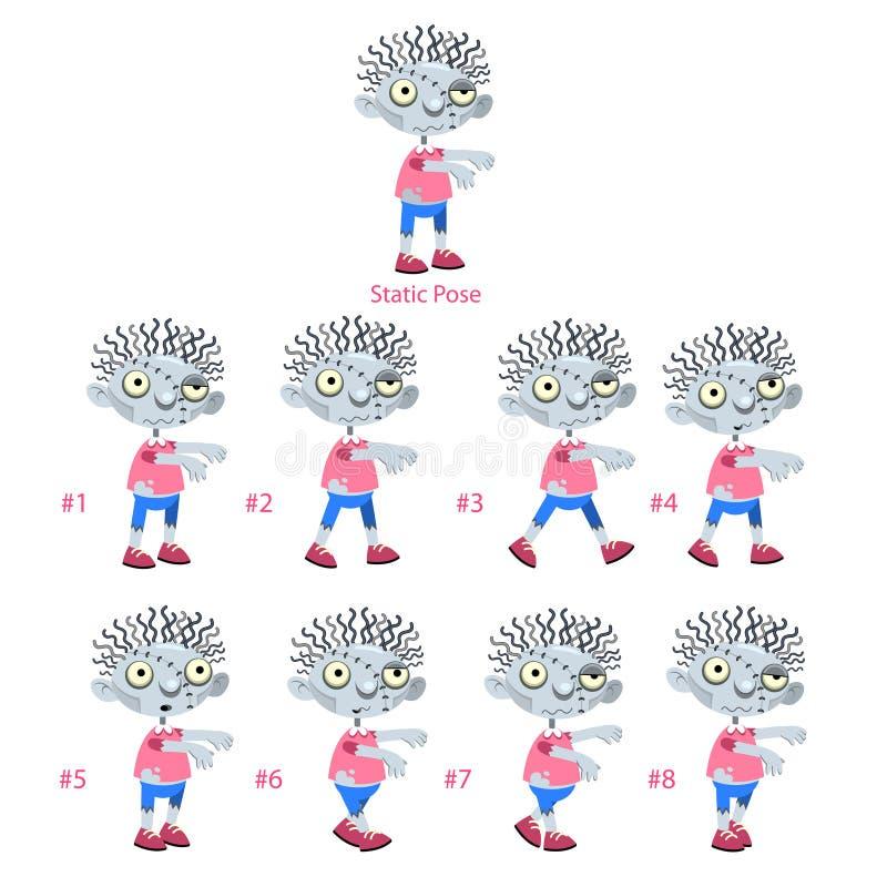 Animacja żywego trupu odprowadzenie. ilustracja wektor