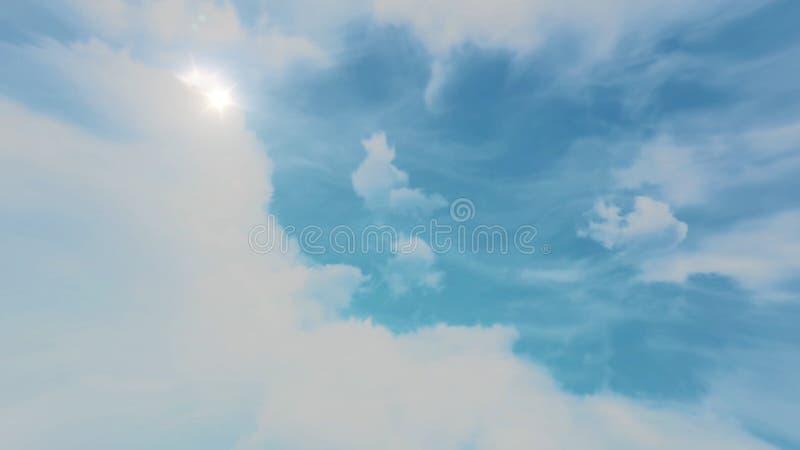 Animacja chodzenia niebieskie niebo i chmury Piękny cloudscape z ampułą, budujący chmury i wschodu słońca łamanie obraz royalty free