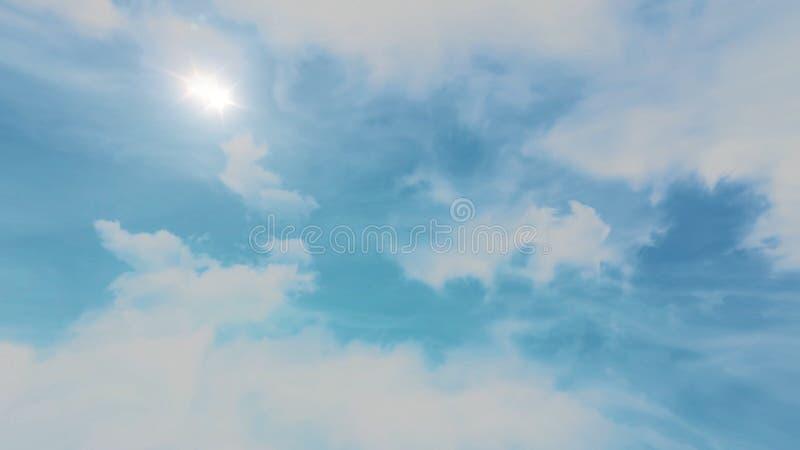 Animacja chodzenia niebieskie niebo i chmury Piękny cloudscape z ampułą, budujący chmury i wschodu słońca łamanie zdjęcia stock