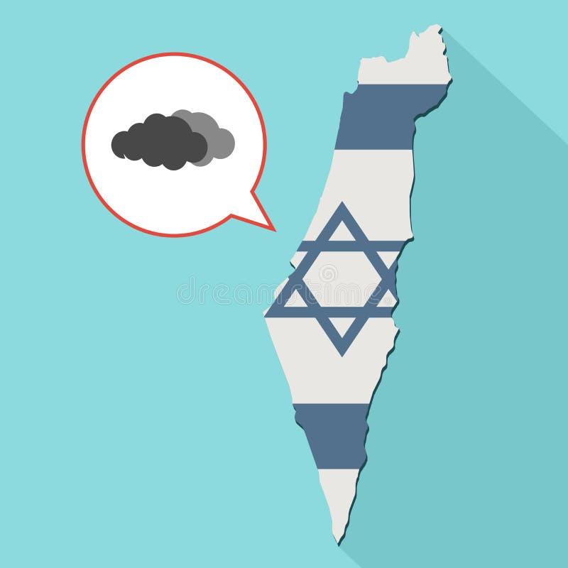 Animacja długa cienia Izrael mapa z swój flaga i komiczką ilustracji