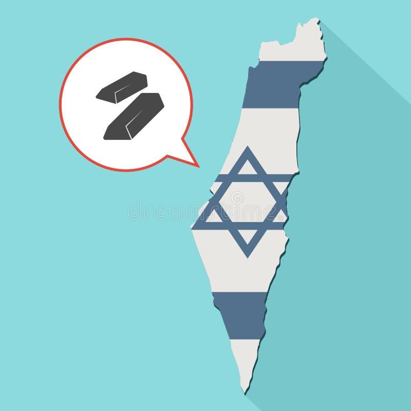 Animacja długa cienia Izrael mapa z swój flaga i komiczką ilustracja wektor