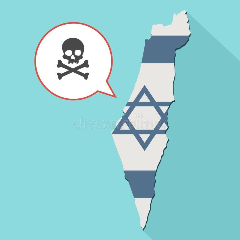 Animacja długa cienia Izrael mapa z swój flaga i komiczką royalty ilustracja