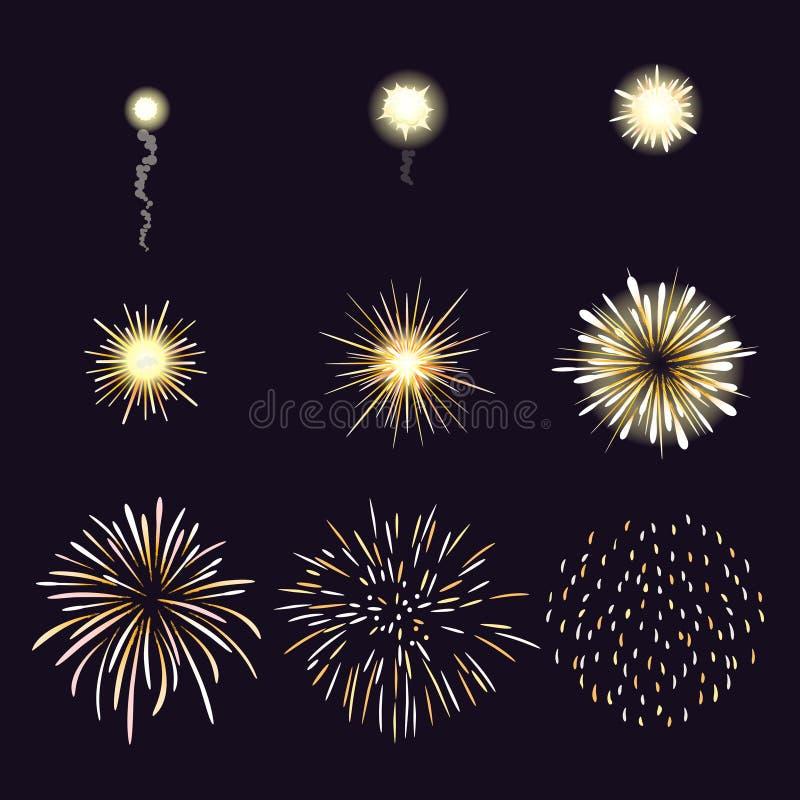 Animacja fajerwerku skutek w kreskówki komiczce ilustracja wektor