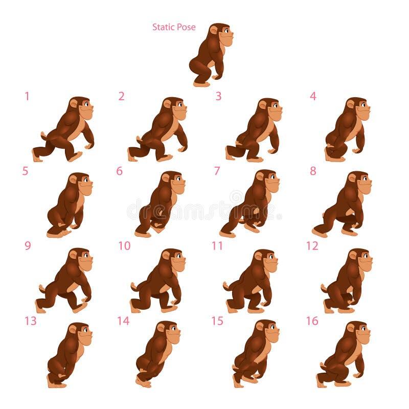 Animacja goryla odprowadzenie ilustracja wektor
