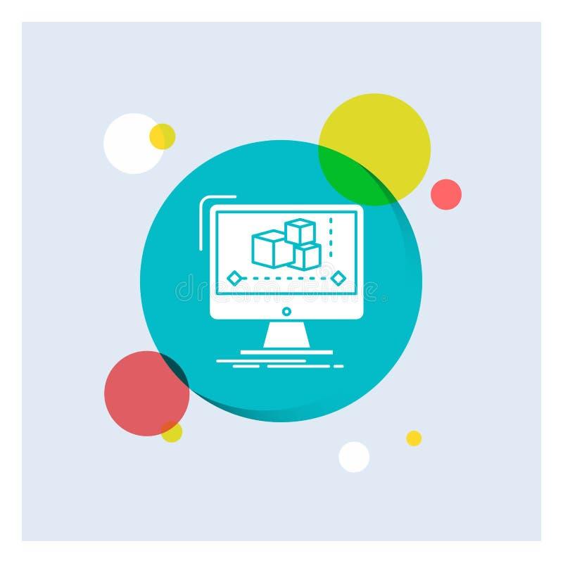 Animacja, komputer, redaktor, monitor, oprogramowanie glifu Białej ikony okręgu kolorowy tło royalty ilustracja