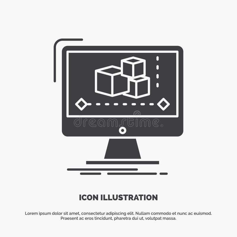 Animacja, komputer, redaktor, monitor, oprogramowanie ikona glifu wektorowy szary symbol dla UI, UX, strona internetowa i wisz?ce royalty ilustracja