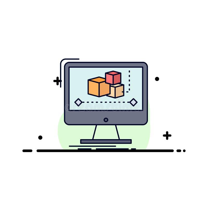 Animacja, komputer, redaktor, monitor, oprogramowanie koloru ikony Płaski wektor royalty ilustracja