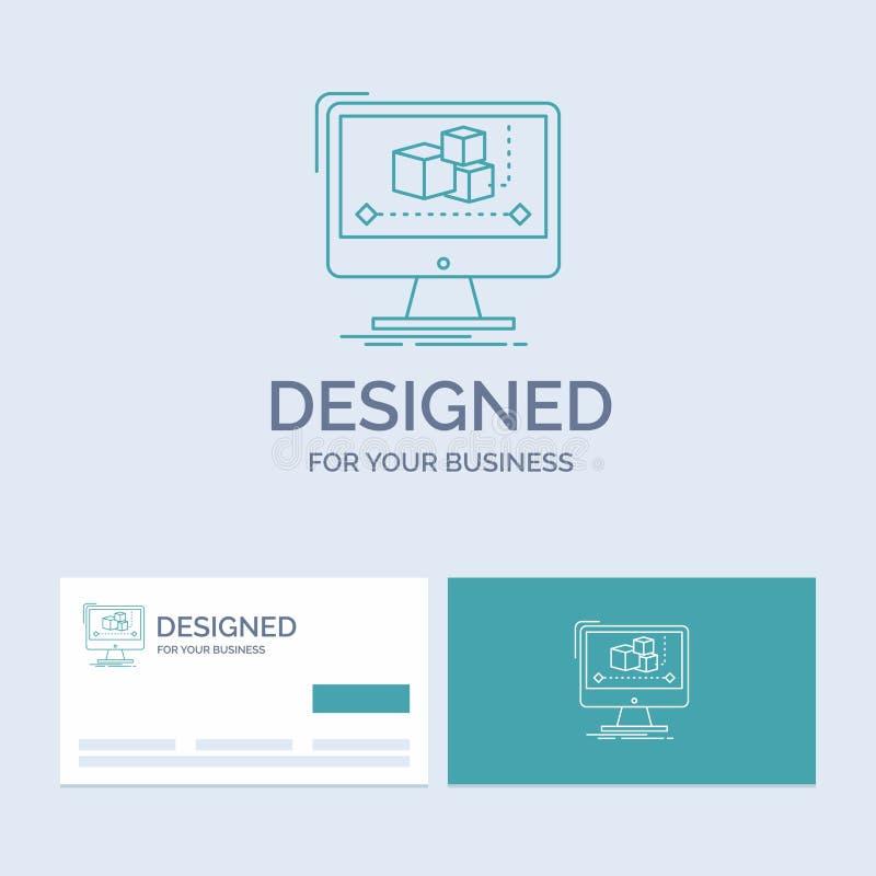 Animacja, komputer, redaktor, monitor, oprogramowanie logo linii ikony Biznesowy symbol dla twój biznesu Turkusowe wizyt?wki z ilustracji