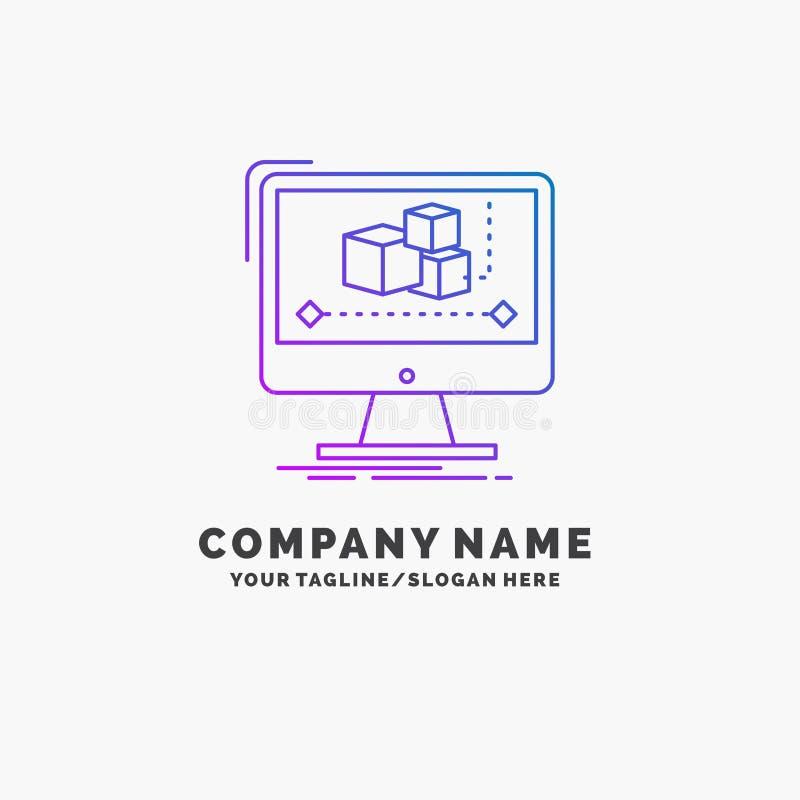 Animacja, komputer, redaktor, monitor, oprogramowanie logo Purpurowy Biznesowy szablon Miejsce dla Tagline ilustracji
