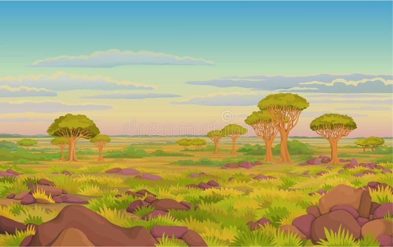 Animacja krajobraz: Afrykańska dolina, smok krwi drzewa, więdnął trawy, chmurny niebo ilustracja wektor