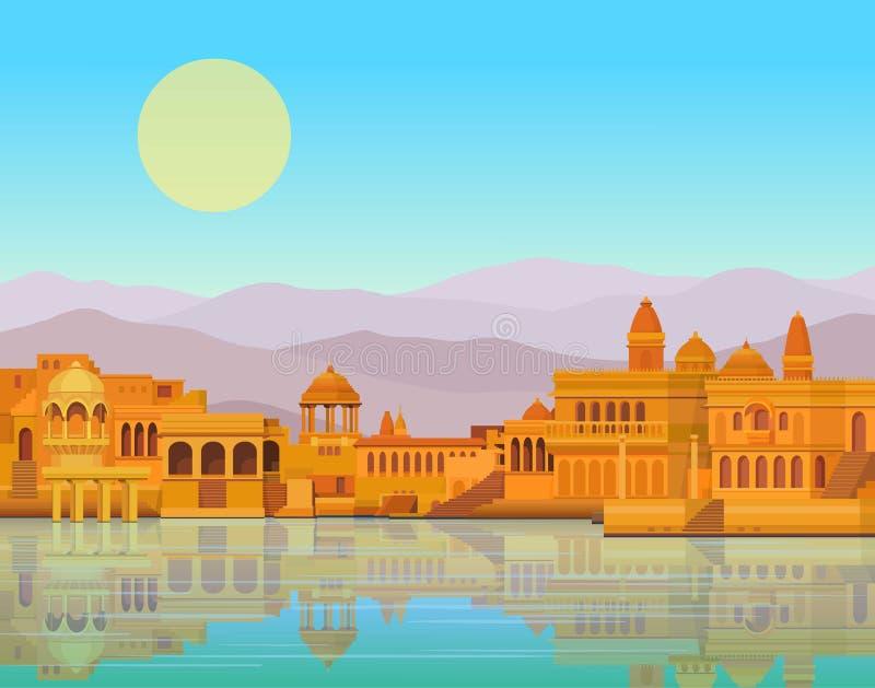 Animacja krajobraz: antyczny Indiański miasto: świątynie, pałac, mieszkania, brzeg rzeki ilustracji