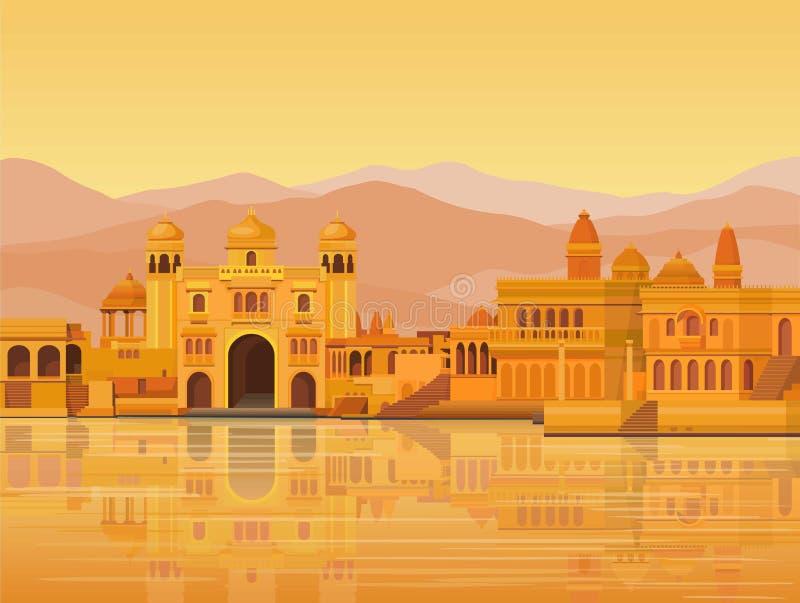 Animacja krajobraz: antyczny Indiański miasto: świątynie, pałac, mieszkania, brzeg rzeki ilustracja wektor