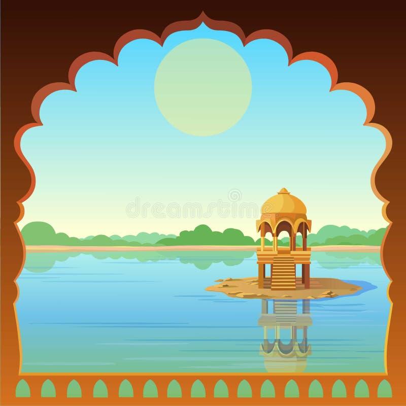 Animacja krajobraz: antyczny Indiański pałac, widok od okno, altana w rzece ilustracja wektor
